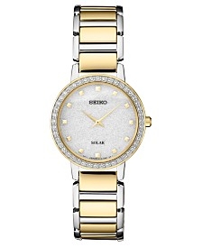 Seiko Women's Solar Two-Tone Stainless Steel Bracelet Watch 30.3mm