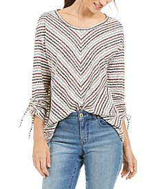 Asymmetrical Striped Tie-Sleeve Top, Created for Macy's