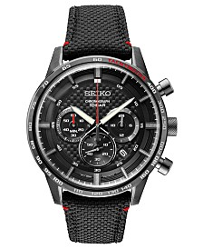 Seiko Men's Chronograph Essentials Black Leather Strap Watch 45.2mm