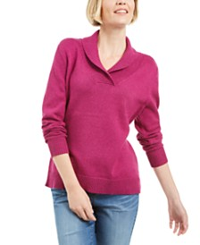 Karen Scott Cotton Marled Shawl-Collar Sweater, Created for Macy's