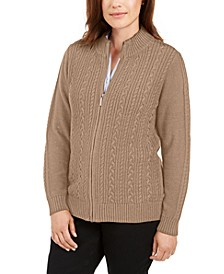 Cable-Knit Zippered Cardigan, Created for Macy's
