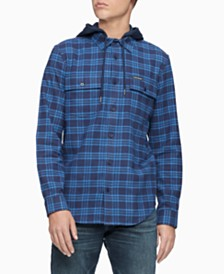 Calvin Klein Jeans Men's Foundation Hooded Flannel Shirt