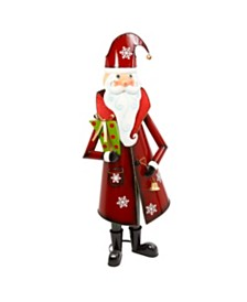 Sterling Metal Santa Figure with Gold Bell and Green Present