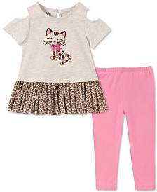 Kids Headquarters Little Girls Cold-Shoulder Cat Tunic & Leggings Set