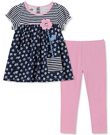 Kids Headquarters Little Girls Flower Tunic & Leggings Set