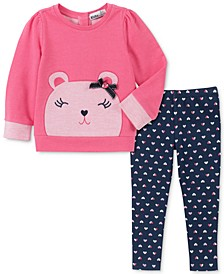 Little Girls Bear Sweater & Printed Leggings Set