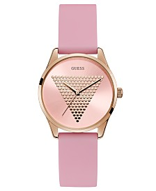 GUESS Women's Pink Silicone Strap Watch 36mm