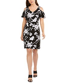 Petite Cold-Shoulder Printed A-line Dress