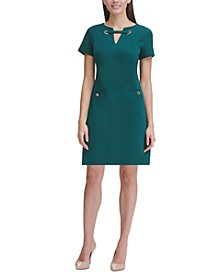 Scuba Crepe Grommet Dress