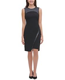 Asymmetrical Faux-Leather-Trim Dress