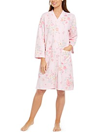 Quilted Floral-Print Long Zip Robe