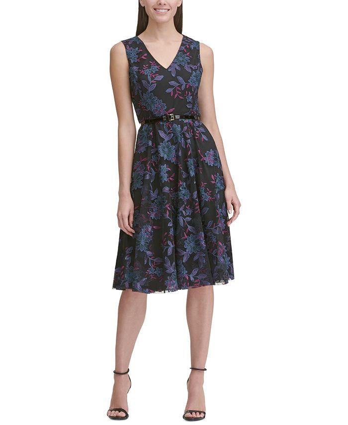Tommy Hilfiger - Belted Embroidered Fit & Flare Dress