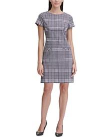 Retro-Plaid Pocket Shift Dress