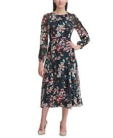 Corsage Print Chiffon Midi Dress