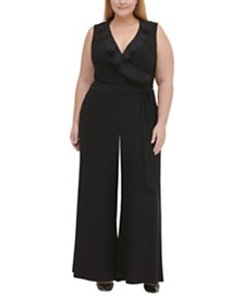 Tommy Hilfiger Plus Size Ruffled Jersey Jumpsuit