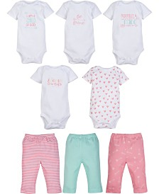 Miracle Baby 5-Pack Short Sleeve Bodysuit and 3-Pack pant outfit