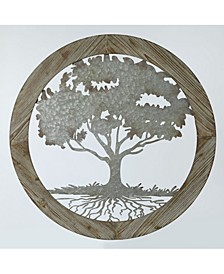 Metal Tree and Wood Frame Wall Decor
