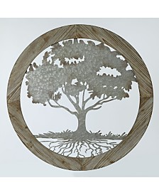 Luxen Home Metal Tree and Wood Frame Wall Decor