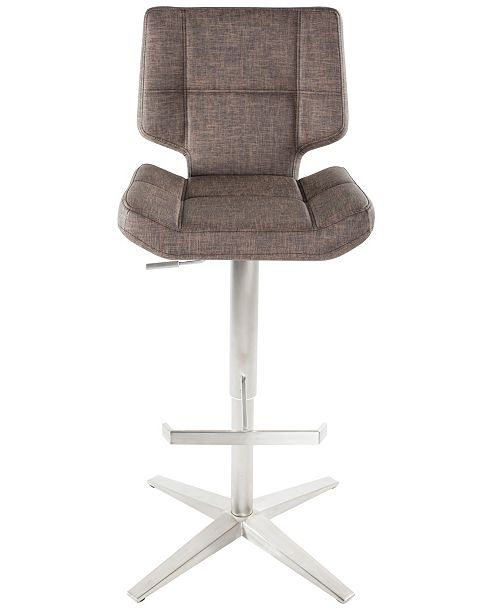 MIX Seva Faux Fabric Tufted Adjustable Swivel Barstool
