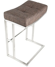 "MIX Solis Faux Fabric Stationary Saddle 26"" Backless Barstool"