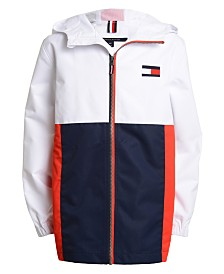 Tommy Hilfiger Big Boys Signature Colorblocked Logo-Print Hooded Jacket