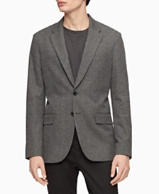 Calvin Klein Men's Slim-Fit Heathered Check Blazer