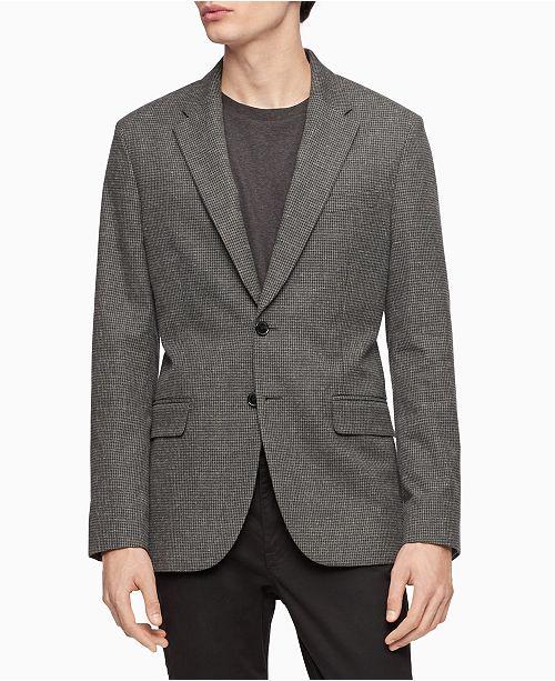 Calvin Klein Men's Slim-Fit Heathered Check Blazer