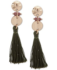 lonna & lilly Gold-Tone Bead & Tassel Linear Drop Earrings