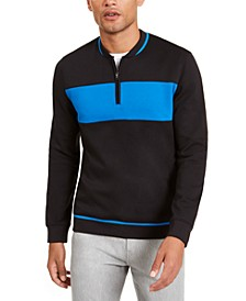 Men's Colorblocked Quarter-Zip Baseball-Collar Sweatshirt, Created for Macy's