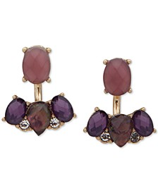 Gold-Tone Pavé & Stone Front-and-Back Earrings