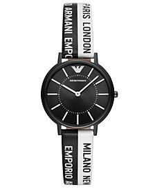 Women's Black & White Logo Silicone Strap Watch 32mm