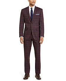 Men's Slim-Fit Stretch Dark Red Plaid Windowpane Suit