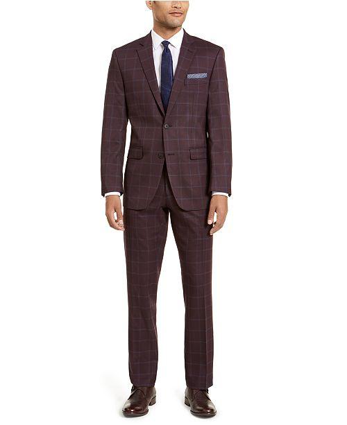 Perry Ellis Men's Slim-Fit Stretch Dark Red Plaid Windowpane Suit