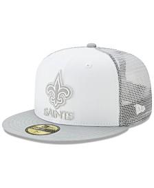 New Era New Orleans Saints White Cloud Meshback 59FIFTY Cap