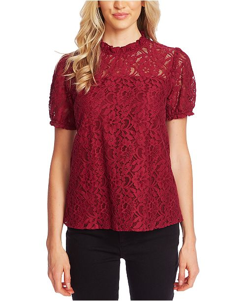 CeCe Puffed-Sleeve Lace Top