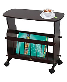 Uniquewise Wooden Magazine Rack Table, Accent End Side Table, with Rolling Casters