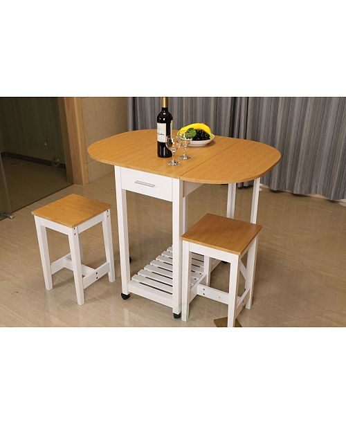 Basicwise 3 Piece Kitchen Island Breakfast Bar Set With Casters