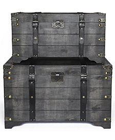 Vintiquewise Distressed Black Large Wooden Storage Trunk Coffee Table Set of 2