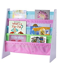 4 Tiered Colorful Lined Kids Sling Magazine Book Rack