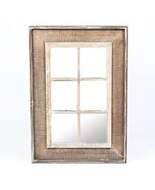 Luxen Home Rectangular Wood Window Frame Wall Mirror