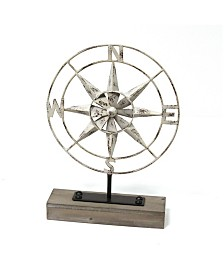 Stratton Home Decor Metal Compass Table Top