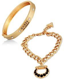 GUESS Gold-Tone 2-Pc. Set Crystal Horseshoe Bracelets