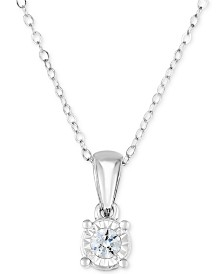 "TruMiracle® Diamond Solitaire 18"" Pendant Necklace (1/4 ct. t.w.) in 14k White Gold"