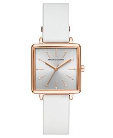 A X Armani Exchange Women's Lola White Leather Strap Watch 30mm