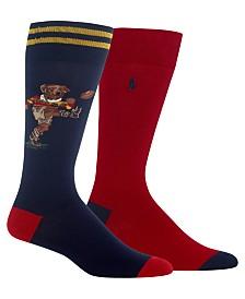Polo Ralph Lauren Men's Big & Tall 2-Pk. Rugby Bear Socks