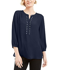 Petite Rivet-Front Pleated-Back Top, Created for Macy's