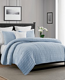 Enzyme Washed Crinkle Quilt Set - Full/Queen