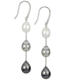 Cultured White South Sea Pearl (8mm), Cultured Gray Tahitian Pearl (9mm) & Cultured Black Tahitian Pearl (10mm) Drop Earrings in Sterling Silver