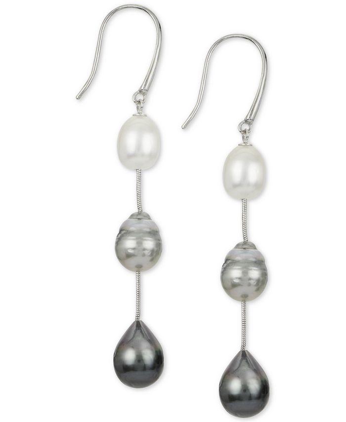 Macy's - Cultured White South Sea Pearl (8mm), Cultured Gray Tahitian Pearl (9mm) & Cultured Black Tahitian Pearl (10mm) Drop Earrings in Sterling Silver
