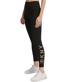 DKNY Sport Printed-Logo High-Waist Leggings